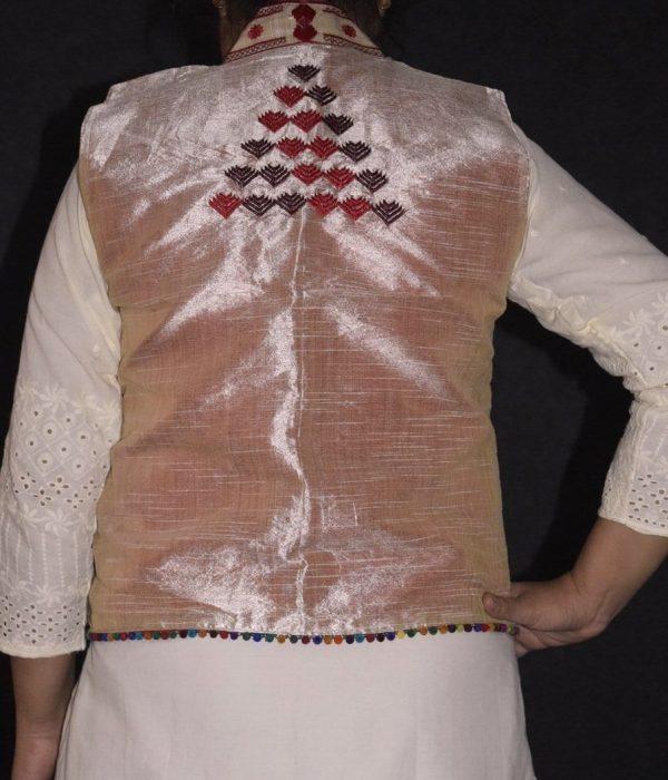 Phulkari Machine Embroidered Jacket Vest for women - Freesize JP003