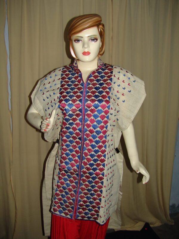 semi stitched JUTE PHULKARI embroidered kurta kurti K0239