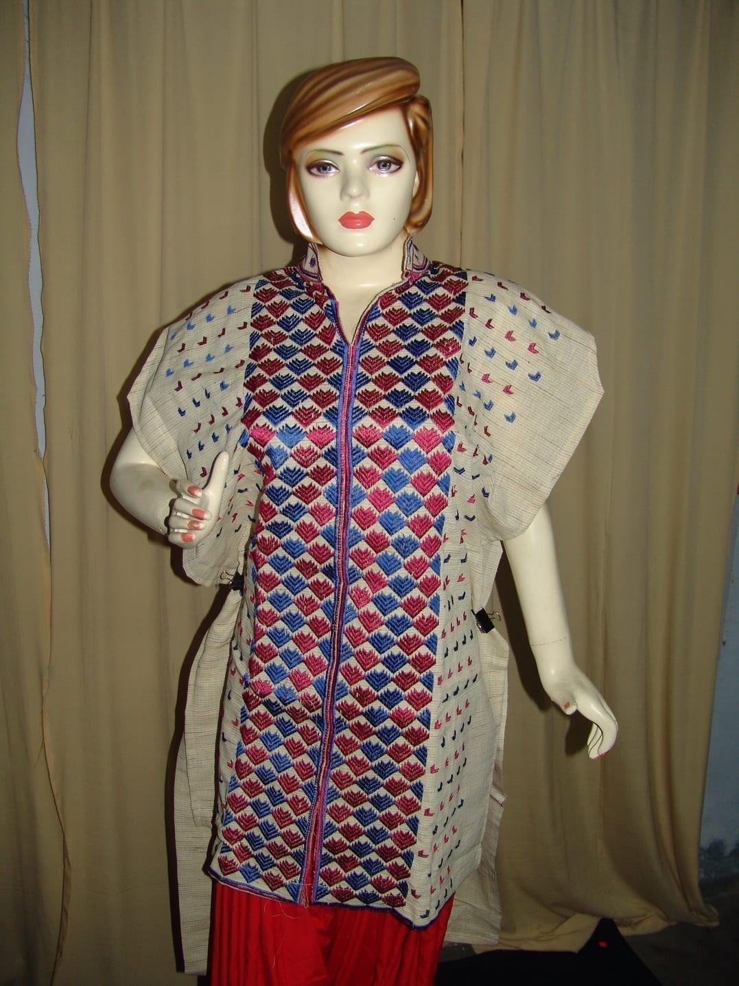 semi stitched JUTE PHULKARI embroidered kurta kurti K0239 1