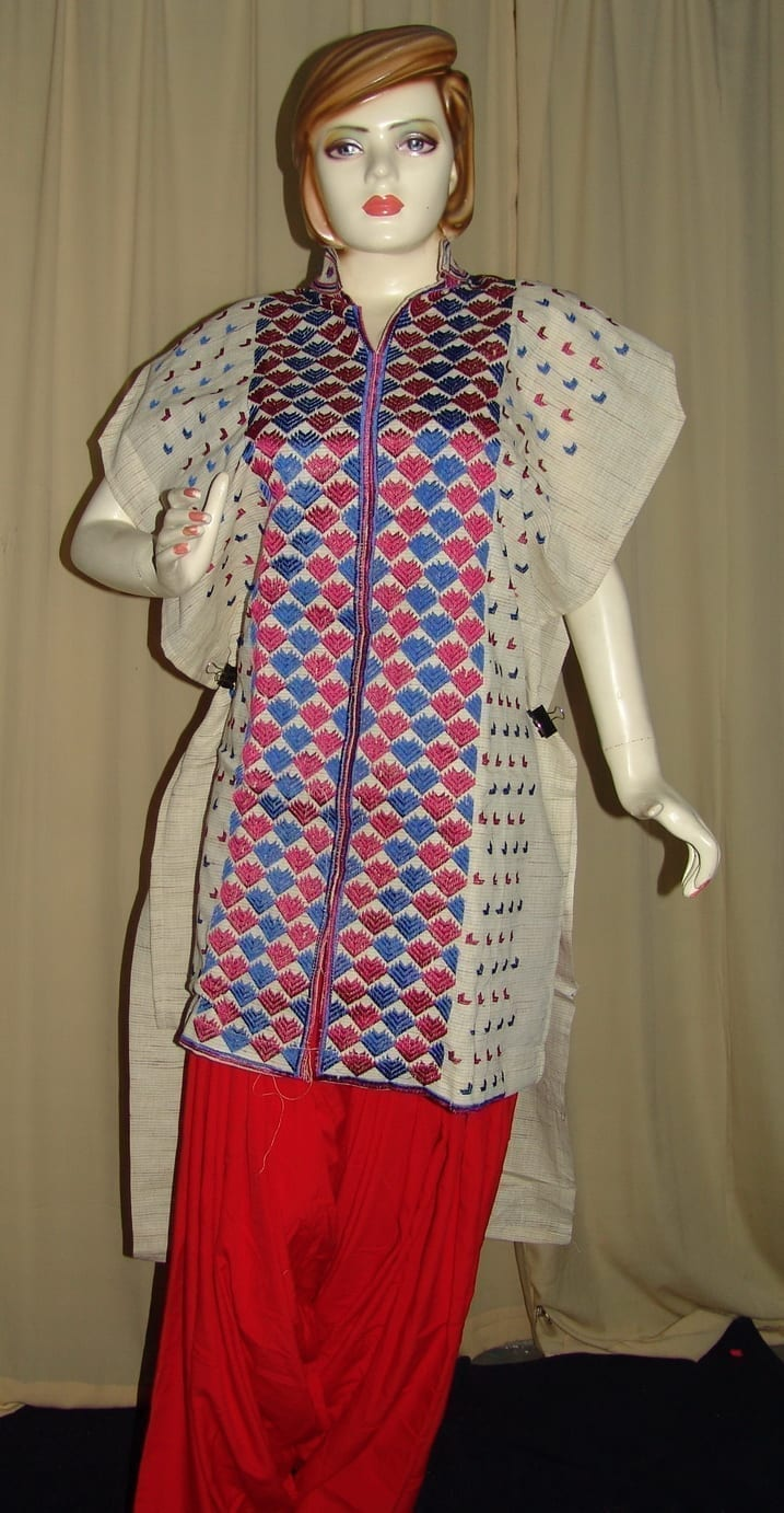 semi stitched JUTE PHULKARI embroidered kurta kurti K0239 2