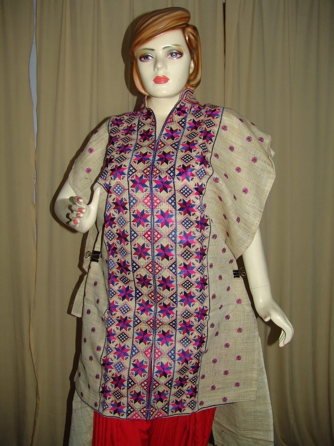 semi stitched JUTE PHULKARI embroidered kurta kurti K0241 1