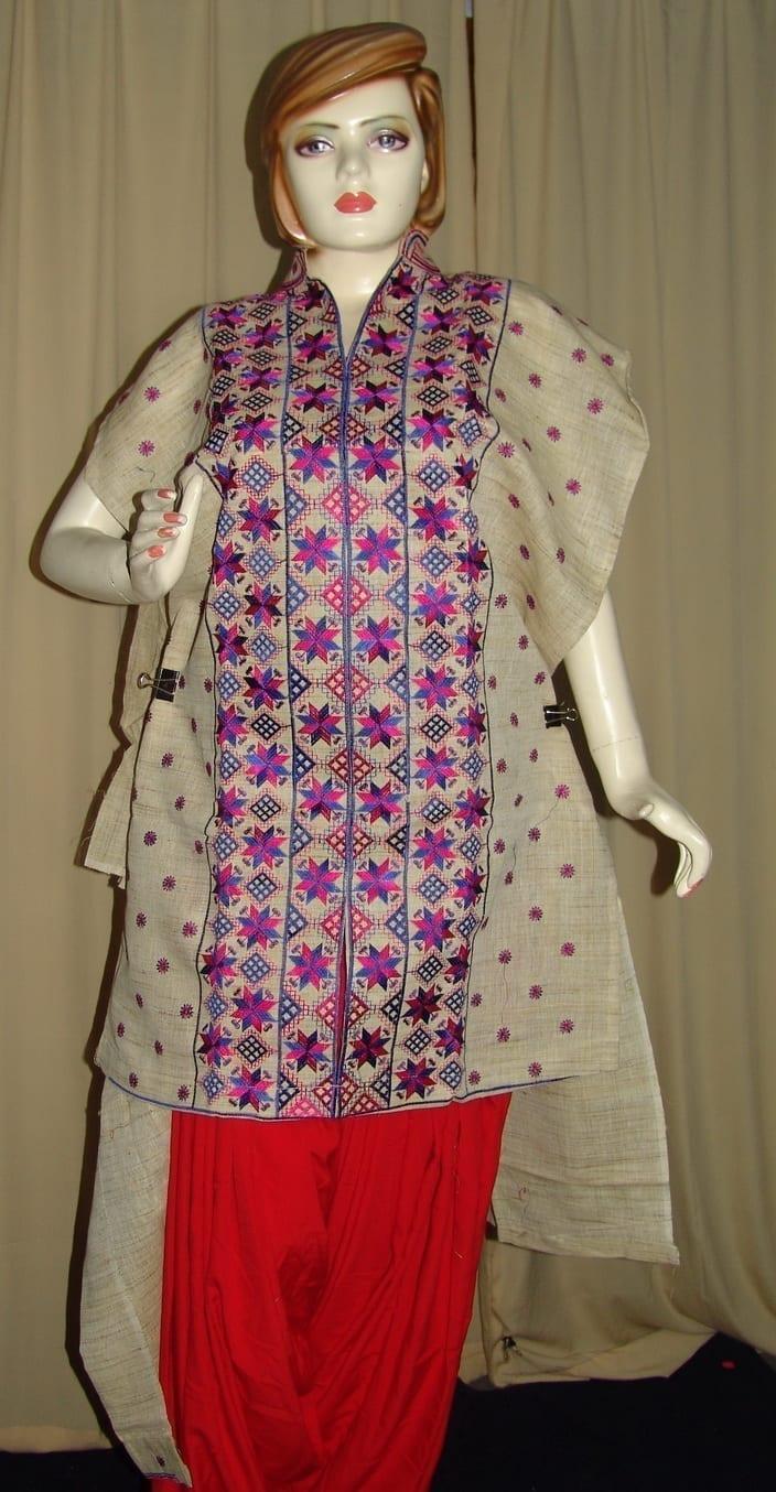 semi stitched JUTE PHULKARI embroidered kurta kurti K0241 2