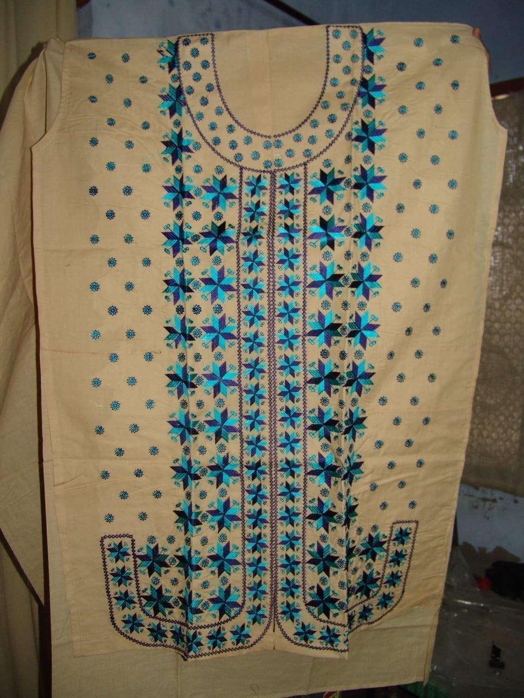 semi stitched cotton PHULKARI embroidered kurta kurti K0243 1