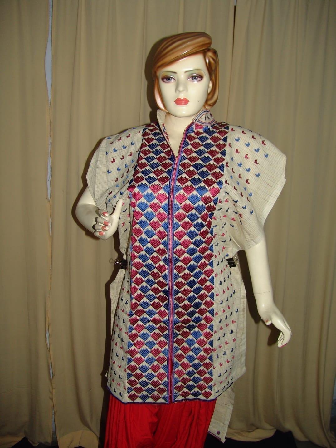 semi stitched JUTE PHULKARI embroidered kurta kurti K0255 1