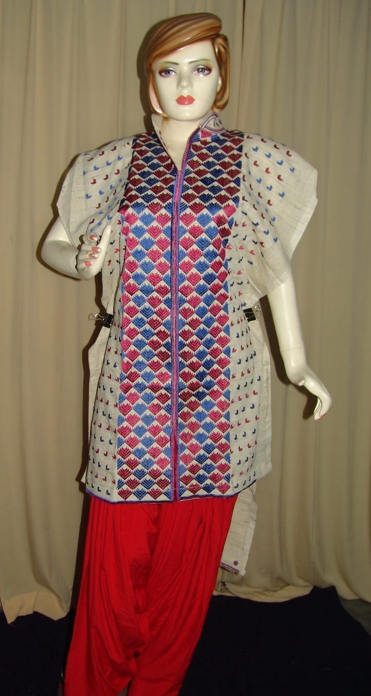 semi stitched JUTE PHULKARI embroidered kurta kurti K0255 2