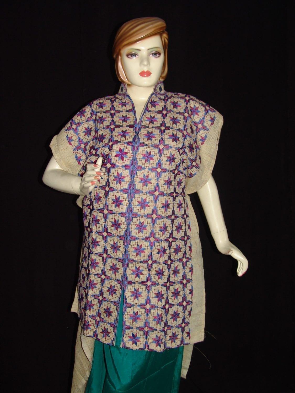 semi stitched jute PHULKARI embroidered kurta kurti K0269 1