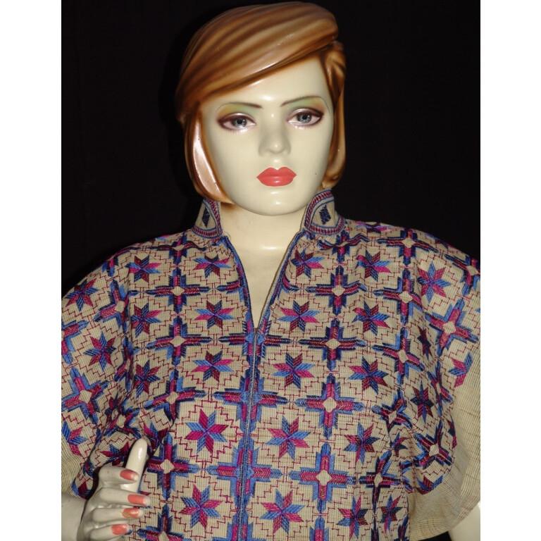 semi stitched jute PHULKARI embroidered kurta kurti K0269