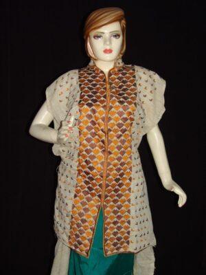 semi stitched jute PHULKARI embroidered kurta kurti K0271