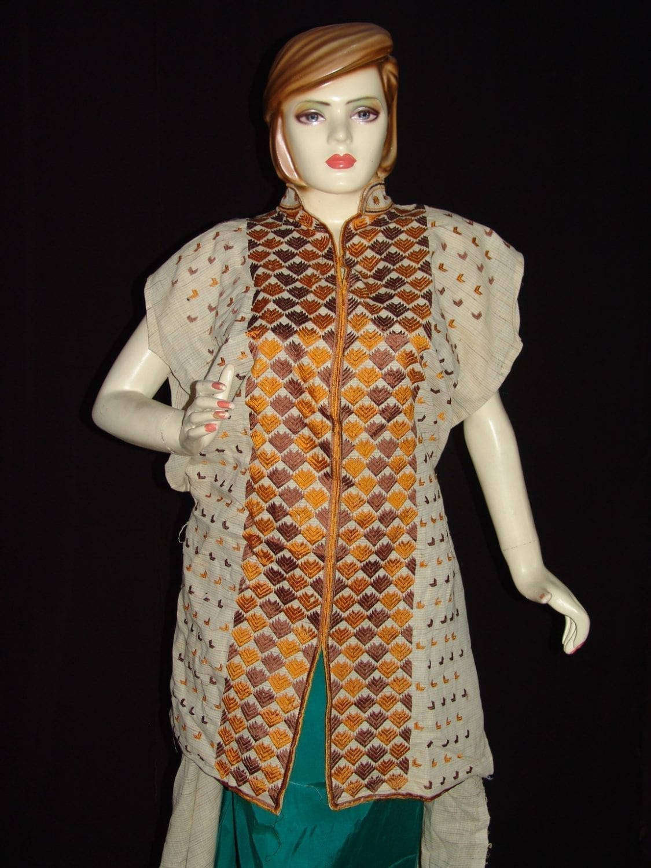 semi stitched jute PHULKARI embroidered kurta kurti K0271 1