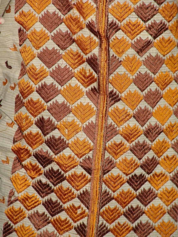 semi stitched jute PHULKARI embroidered kurta kurti K0271 2