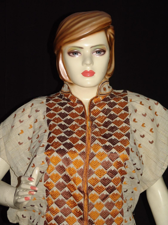 semi stitched jute PHULKARI embroidered kurta kurti K0271 3