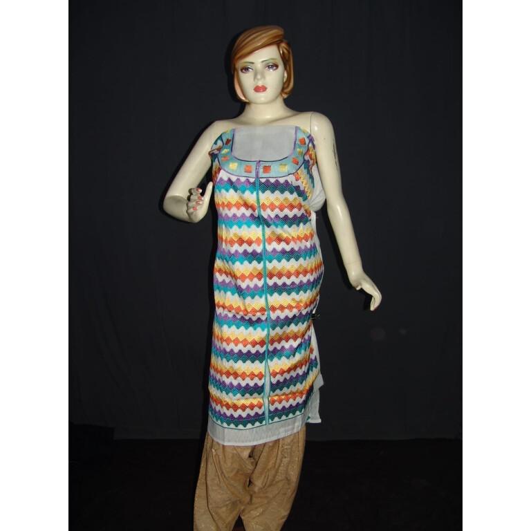 semi stitched cotton Jaal PHULKARI embroidered kurta kurti K0275