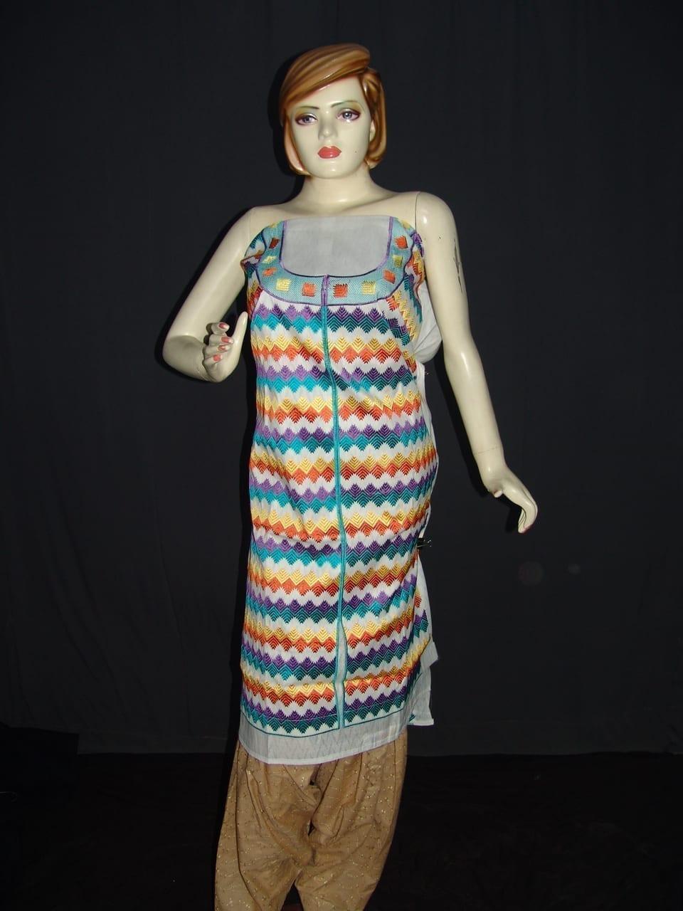 semi stitched cotton Jaal PHULKARI embroidered kurta kurti K0275 1