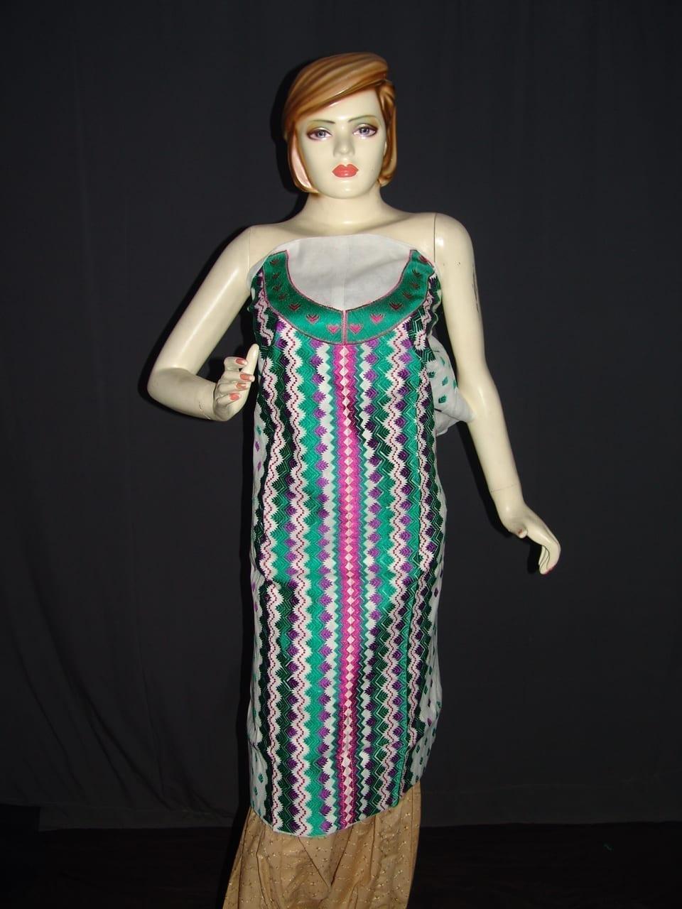 semi stitched cotton Jaal PHULKARI embroidered kurta kurti K0277 1