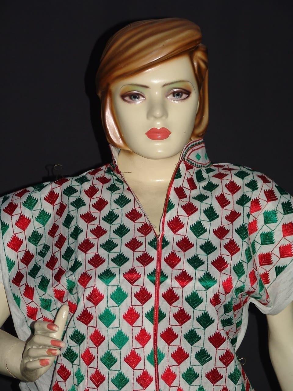 semi stitched cotton Jaal PHULKARI embroidered kurta kurti K0278 2