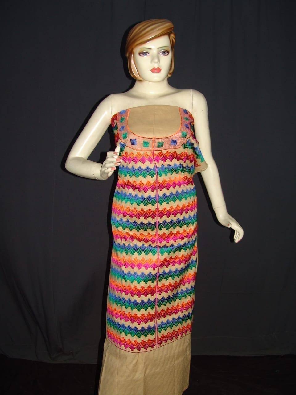 semi stitched cotton Jaal PHULKARI embroidered kurta kurti K0280 1