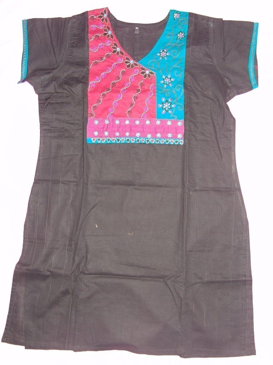 100% PURE COTTON hand embroidered kurta kurti K0304 size XL 1