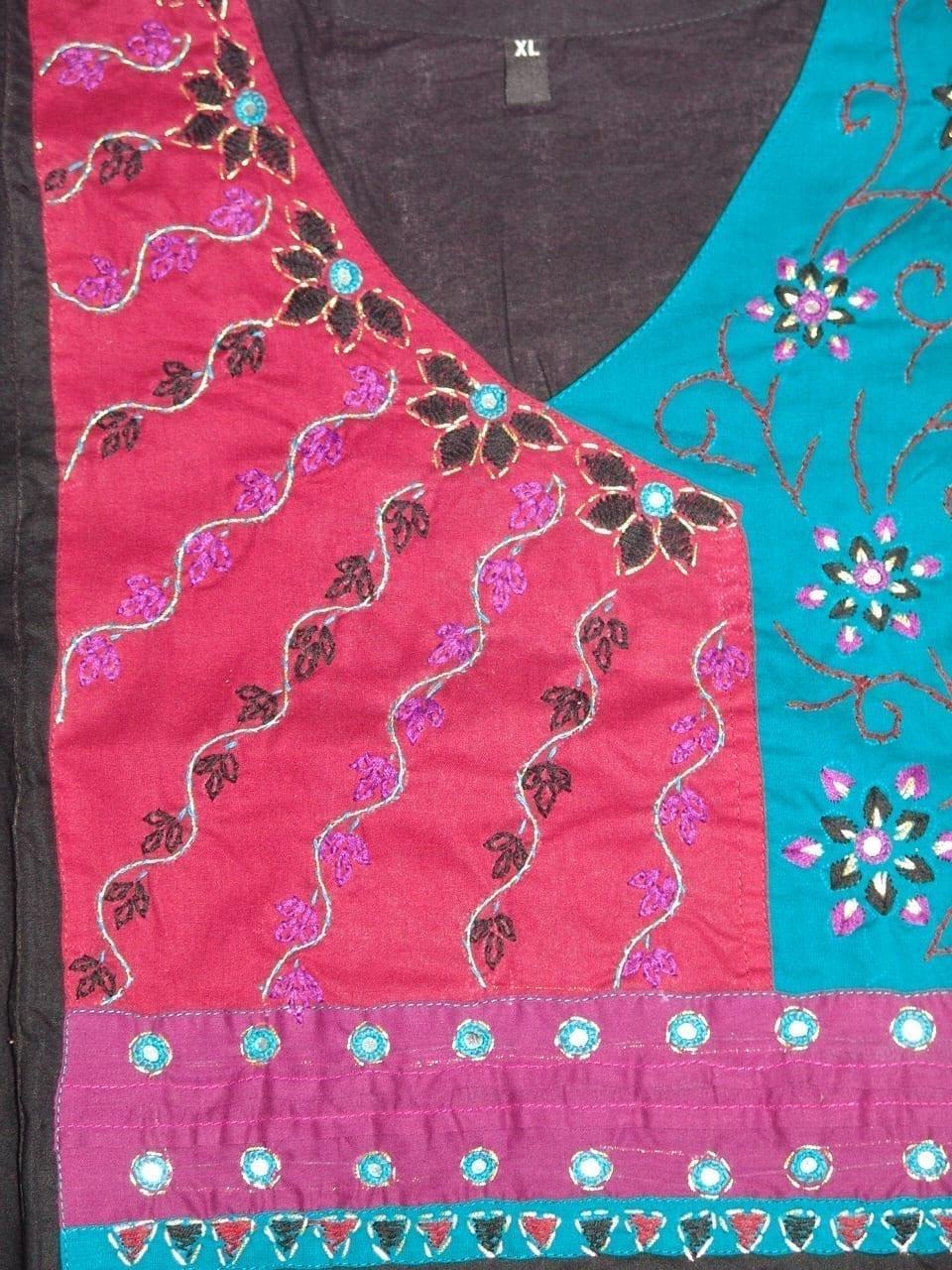 100% PURE COTTON hand embroidered kurta kurti K0304 size XL 2