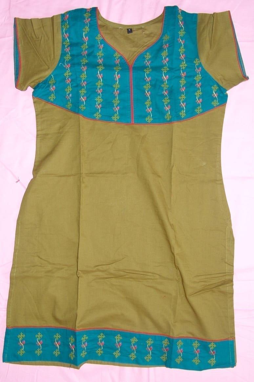 100% PURE COTTON hand embroidered kurta kurti K0312 size L 1