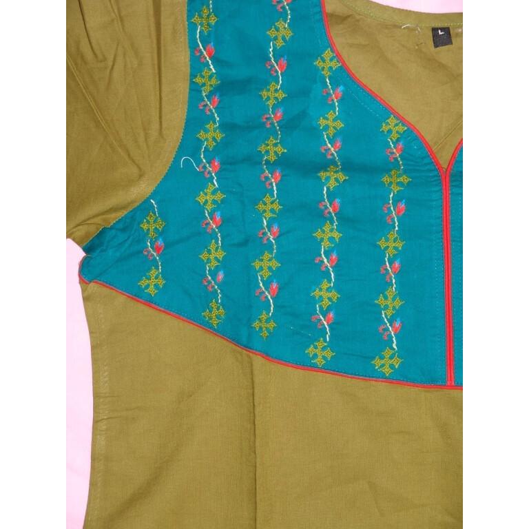 100% PURE COTTON hand embroidered kurta kurti K0312 size L