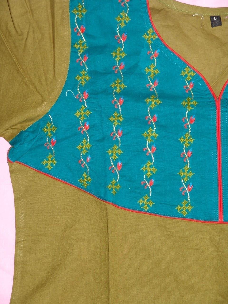 100% PURE COTTON hand embroidered kurta kurti K0312 size L 2