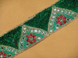 Zircons Embroidered velvet shaneel Lace LC012 (per meter price)