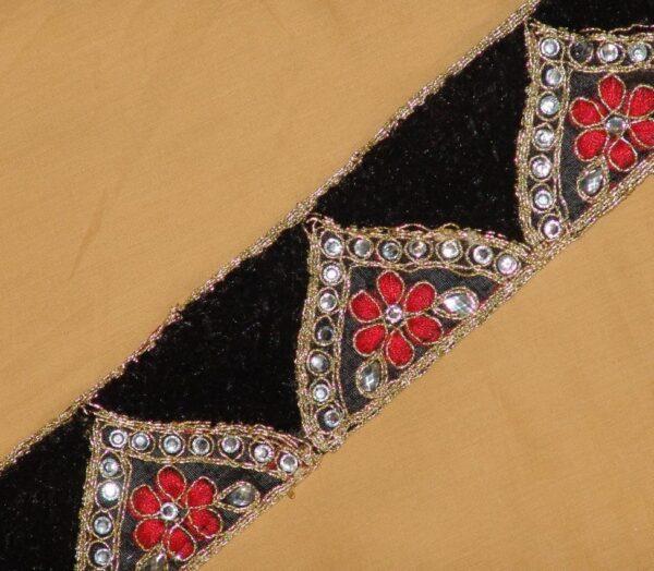 Zircons Embroidered velvet shaneel Lace LC013 (per meter price)