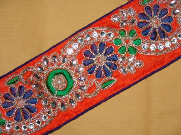 WIDE Embroidered polyester zircons Lace LC018 (per meter price)