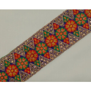 WIDE multicolour Embroidered Lace LC041