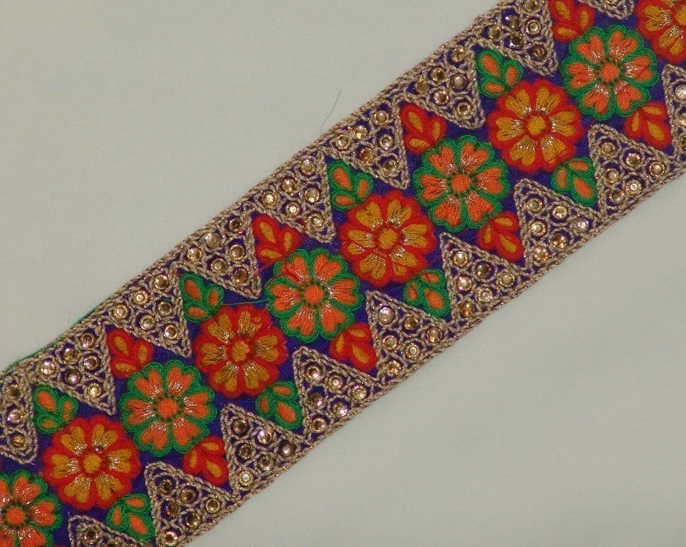 WIDE multicolour Embroidered Lace LC041 1