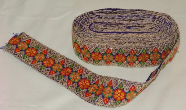 WIDE multicolour Embroidered Lace LC041 (per meter price)