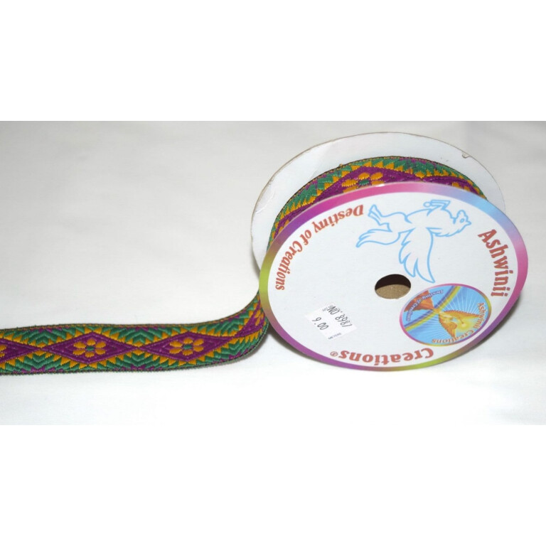 Multicolor Embroidered design Kinari Lace LC060 width 1.25 inch Roll of 9 meters