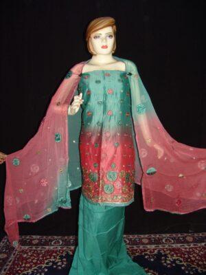 Party wear embroidered TAFFETA  COTTON Suit CHIFFON chunni M0209