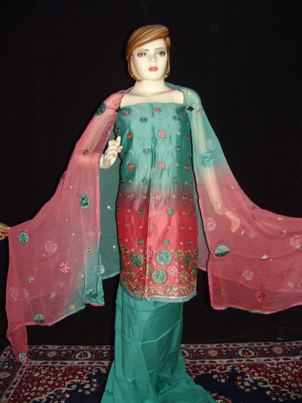 Party wear embroidered TAFFETA  COTTON Suit CHIFFON chunni M0209 1