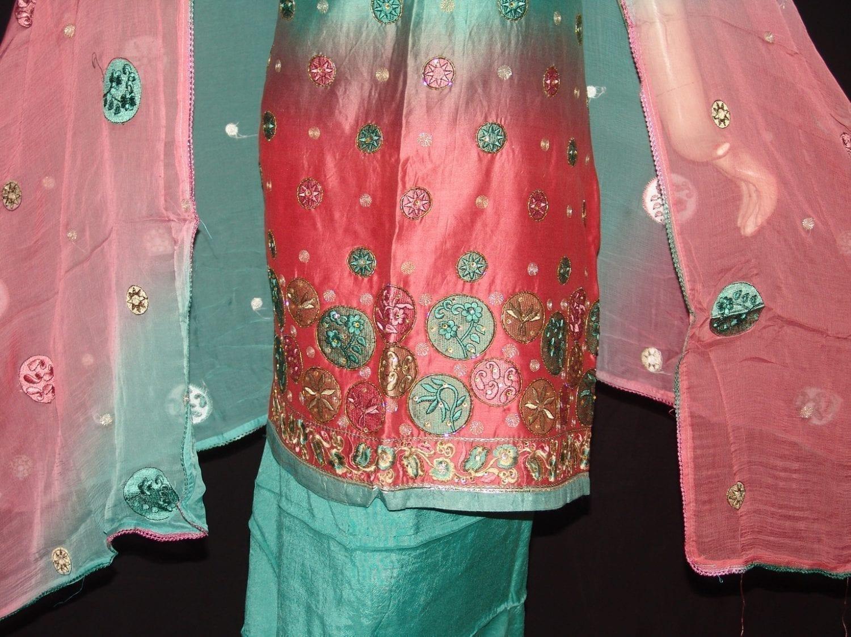 Party wear embroidered TAFFETA  COTTON Suit CHIFFON chunni M0209 2