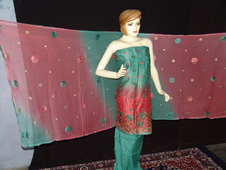 Party wear embroidered TAFFETA  COTTON Suit CHIFFON chunni M0209 3