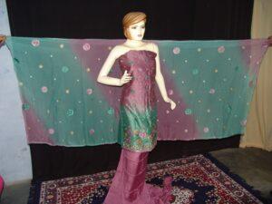 Party wear embroidered TAFFETA  COTTON Suit CHIFFON chunni M0212