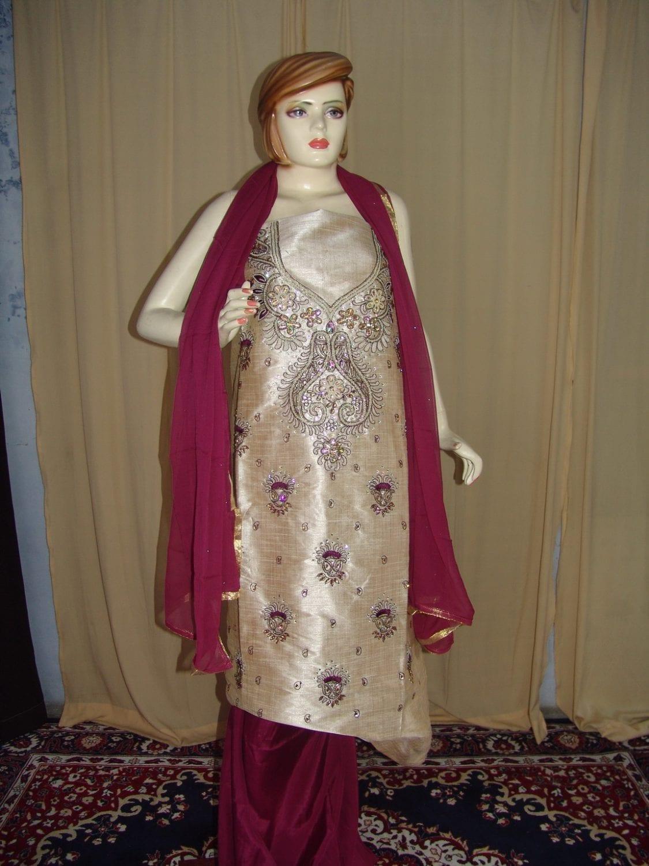 Khadi cotton silk hand embroidered patiala suit dupatta M0214 1