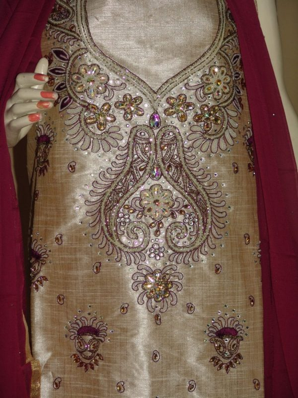Khadi cotton silk hand embroidered patiala suit dupatta M0214