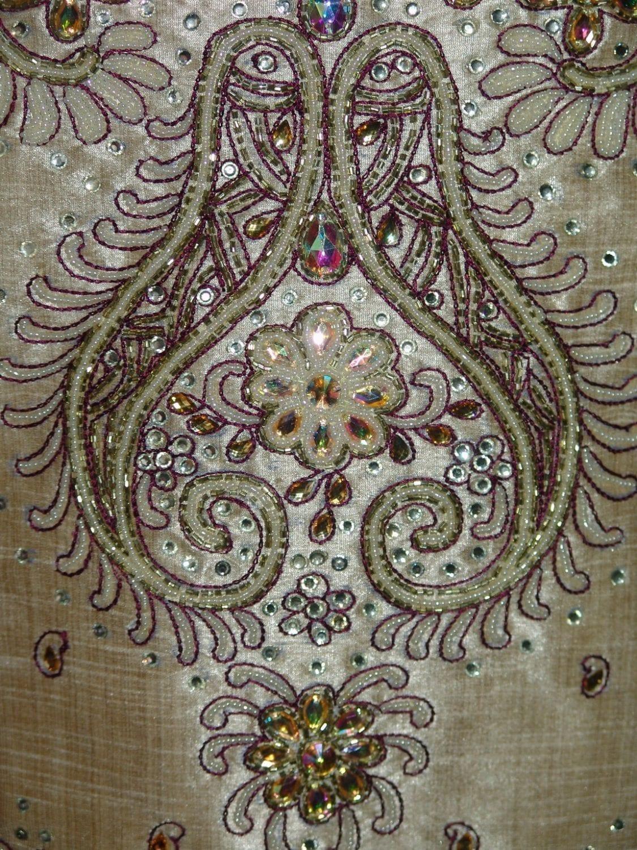 Khadi cotton silk hand embroidered patiala suit dupatta M0214 3