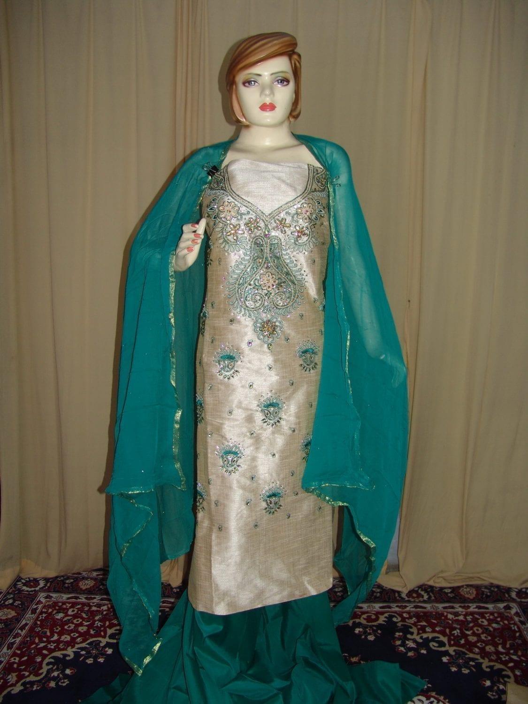 Khadi cotton silk hand embroidered patiala suit dupatta M0216 1