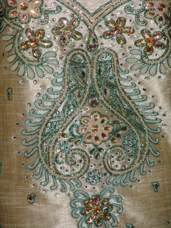 Khadi cotton silk hand embroidered patiala suit dupatta M0216