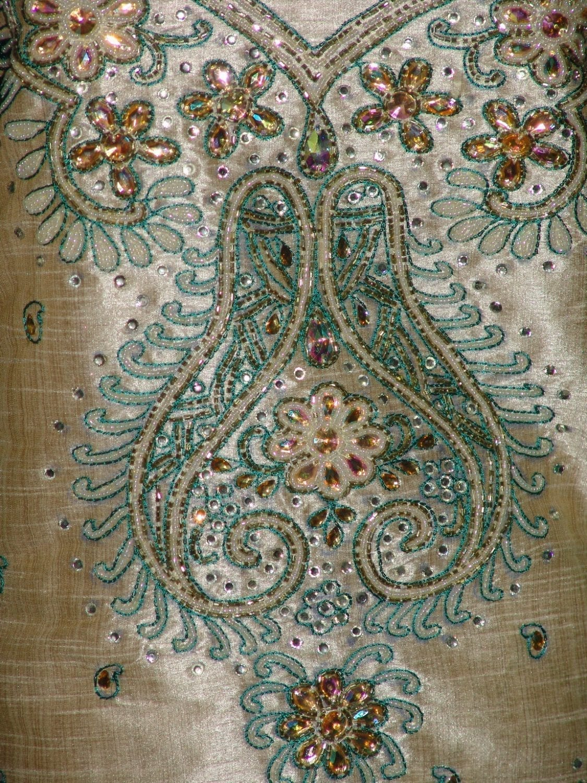 Khadi cotton silk hand embroidered patiala suit dupatta M0216 3