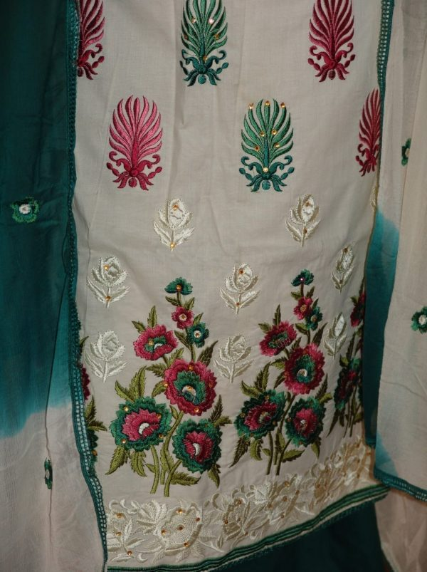Party wear embroidered COTTON Suit CHIFFON chunni M0230