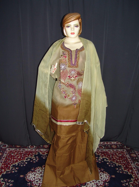 Beads work embroidered ORGANDI Suit CHIFFON dupatta M0238 1