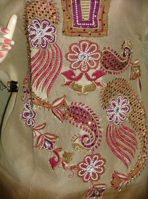 Beads work embroidered ORGANDI Suit CHIFFON dupatta M0238 2