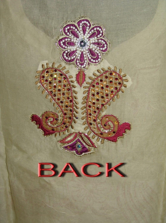 Beads work embroidered ORGANDI Suit CHIFFON dupatta M0238 3