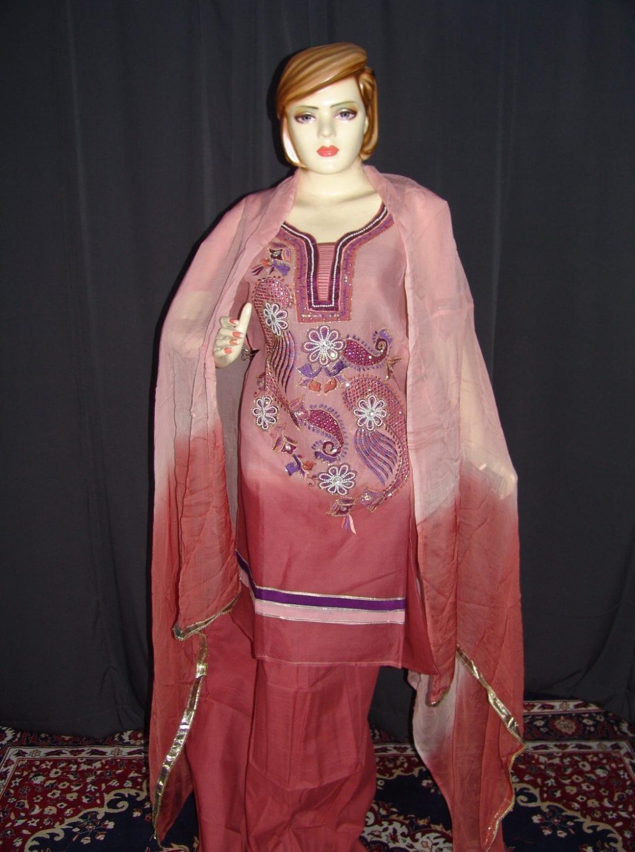 Beads work embroidered ORGANDI Suit CHIFFON dupatta M0240 1