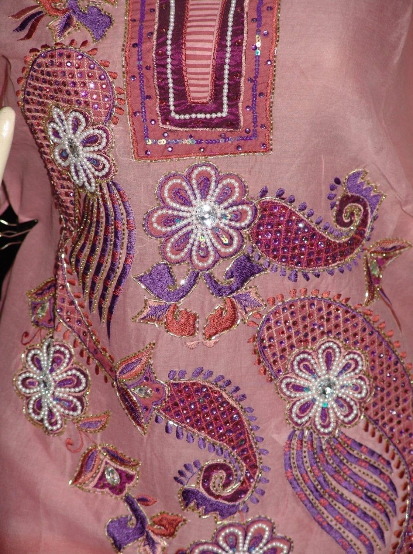 Beads work embroidered ORGANDI Suit CHIFFON dupatta M0240 2