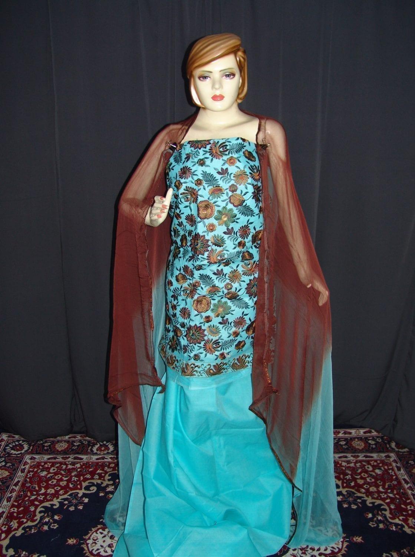 JAAL work embroidered ORGANDI Suit CHIFFON dupatta M0242 1